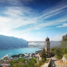 Panoramic view of Kotor city, mountains and Kotor Bay. Chirch... #kotor: Panoramic view of Kotor city, mountains and Kotor Bay.… #kotor