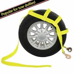 Tow Dolly Strap (Single) w/ 2 Twisted Snap Hooks. Made with 12,000 lb industrial grade polyester webbing for maximum hauling strength. Industrial grade, yellow polyester webbing is weather resistant and will not stretch over time! Secure your vehicle for towing with this Wheel Net Basket car tie down. Great tie downs for tow dollies. 2 heavy duty twisted snap hooks. Most of our wheel nets will work on 14.-17. standard. Use with ratchet or winch. This tow dolly strap comes with two...