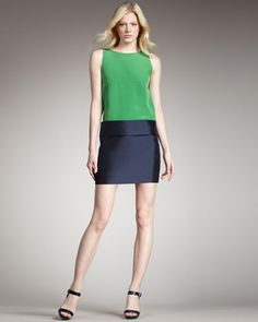 Eames Silk Colorblock Dress, Green by MARC by Marc Jacobs at Bergdorf Goodman.