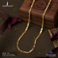 Plain Gold Chain gms) - Plain Gold Jewellery for Unisex by Jewelegance Gold Chain Design, Gold Bangles Design, Gold Earrings Designs, Mens Gold Bracelets, Mens Gold Jewelry, Gold Jewellery, Gold Pendants For Men, Gold Mangalsutra Designs, Gold Chains For Men