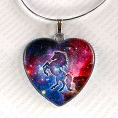 Galaxy Horse Heart Pendant Horse Jewelry Horse by PendantLab