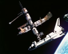 The Space Shuttle Docked with Mir (Oct 20 2002)  Credit: Nikolai Budarin, Russian Space Research Institute, NASA Before there was the International Space Station, the reigning orbiting spaceport was Russia's Mir. Pictured above in 1995, the United States Space Shuttle Atlantis docked with the segmented Mir. During shuttle mission STS-71, astronauts answered questions from school students over amateur radio and performed science experiments aboard Spacelab. #astronomy