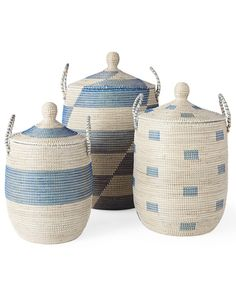 A bright, beachy take on storage. Beautifully handmade, these lidded baskets are a fun and textural way to store everything from toys to craft supplies, linens to laundry. Strips of recycled plastic are wrapped around coils of neutral seagrass to create bold patterns. Because each basket is crafted by hand, no two will be exactly alike, adding to its charm.