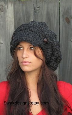 Slouchy Hat Newsboy Hat Womens Newsboy Hat Wool Cap Chunky Hat  - Two Button Band Slouchy Cap Charcoal Gray or CHOOSE Your color