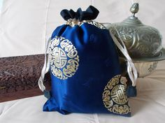 Chinese drawstring bag dark blue with black by EcoTurtleUpcycling