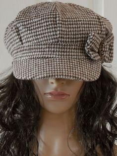 e38282138fa Women s Brown Beige Houndstooth Ring Decor Bow Applejack Newsboy Hat Cabbie  Cap  Unbranded  NewsboyCabbie
