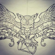 Owl With Hourglass Tattoo.