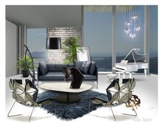 """""""Suddenly, I Have the Blues"""" by kelly-taylor ❤ liked on Polyvore featuring interior, interiors, interior design, home, home decor, interior decorating, Schumacher, MOROSO, NOVA and Jonathan Adler"""