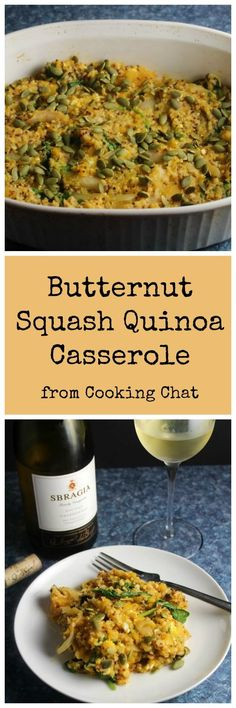 Butternut squash baked with quinoa, spinach and feta cheese for a hearty cold weather casserole dish that can serve as a substantial side or vegetarian main course.