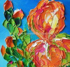 Flower Painting Oil  Iris painting  Home Decor by IronsideImpastos