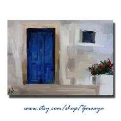 Painting print on canavs giclee of old blue door in greece, stretched canvas art.