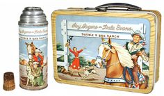 1954 American Thermos, Roy Rogers and Dale Evans Lunch Box with Thermos