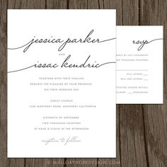 Handwriting Simplicity Modern Wedding Invitation & RSVP Set ©MalloryHopeDesign malloryhopedesign.etsy.com
