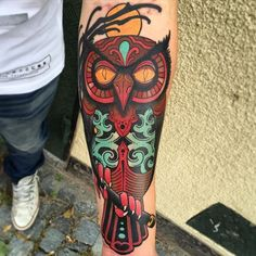 Owl Tattoo by Jacob Wiman Owl NeoTraditional NeoTraditionalTattoos Owl NeoTraditionalArtist BoldTattoos JacobWiman