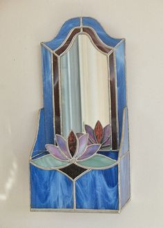 Blue stained glass mirrored wall decoration container, wedding gift candle holder, letter holder, home decor, mirror decor stained glass art Stained Glass Mirror, Panel Art, Mirror Wall Decor, Glass Wall Art, Glass Mirror, Wine Glass Art, Glass Ornaments, Beach Glass Art