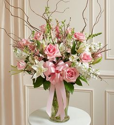 large flower arrangements for church pink and white | Pink and White Large Sympathy Vase Arrangement from 1-800-FLOWERS.COM