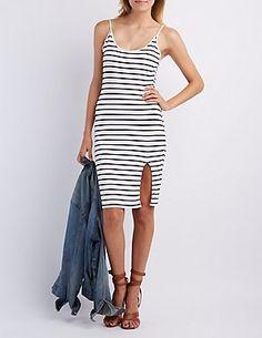 Striped Bodycon Midi Dress #CharlotteLook