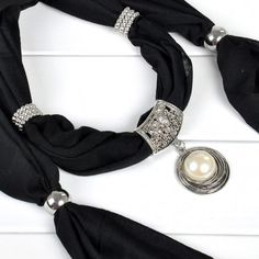 New Flower Ring Jewelry Necklace Scarves White Pearl Pendant Scarf Shawl Wrap
