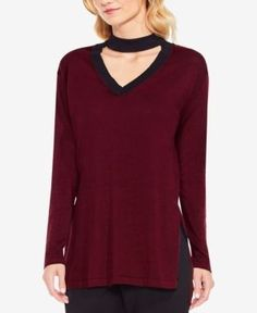 Vince Camuto Choker Sweater - Pink XXS