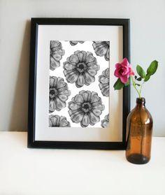 Patterns, pencil drawing, wall print, Scandinavian print, botanical art, botanical, flower art, home decor, floral print