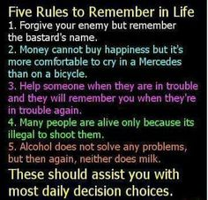 5 Rules to live by