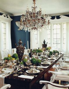 Beautiful dark blue and white formal dining room by Mary McDonald