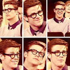 Grant Gustin. Sweater. Glasses.