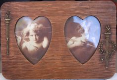 Here we have Original Prints. The glass appears to be the original glass, it is old and wavy and in good condition. The prints show wear from age and being displayed. The Cupid Awake is in nicer condition, but is a little more faded. Vintage Love, Cupid, Framed Art, Victorian, Display, Antiques, Heart, Prints, Floor Space