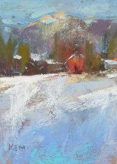 Winter Landscape aceo Original Pastel by Karen Margulis
