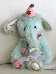 Zsa Zsa a baby circus elephant in aged tutu and hat by Ragtail n Tickle