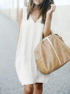 White V Neck Sleeveless Loose Dress