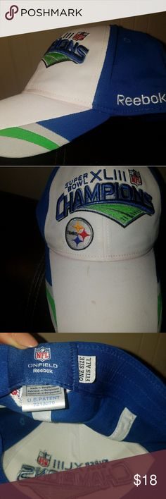 Pittsburgh Steelers Super Bowl hat NFL REEBOK Pittsburgh Steeler Super Bowl champions hat NFL Reebok white grey blue and green has some small markings on the white parts could probably be washed off. I did not try to wash . One size fits all. Still has the metallic sticker under the brim NFL  Accessories Hats