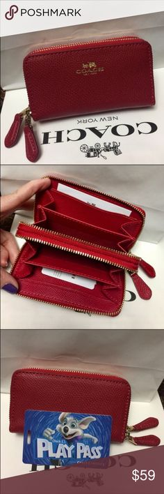 🍀Coach Mini Wallet🍀 100% Authentic Coach Mini Wallet, brand new!.😍😍😍color True Red. Firm Price!.❤️ Coach Bags Wallets