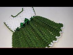 Step by step video tutorial to crochet a beautiful baby dress for 3 to 6 months old - Video tutorial paso a paso para tejer un hermoso vestido a crochet (ganchillo) para una bebé de 3 - 6 meses Baby Girl Crochet, Crochet Baby Clothes, Crochet Dresses, Baby Patterns, Crochet Patterns, Diy For Girls, Baby Girls, Crochet Videos, Baby Dress