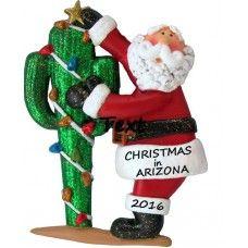 Santa in Arizona Personalized Christmas Ornament