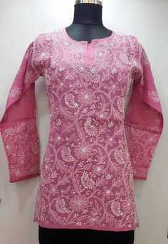 Lucknowi Chikan Short Top Pink Cotton Rs. 1,550.00
