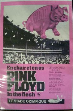 Original concert poster for Pink Floyd at Le Stade Olympique in Montreal in 1977. Hole in lower right area close to image of stadium. Some wear on edges. 24 x 36.25 inches.
