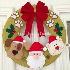 Guirlanda de natal em feltro; felt christmas; santa claus; navidad fieltro