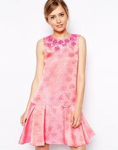 ASOS Embellished Peplum Hem Dress - Pink