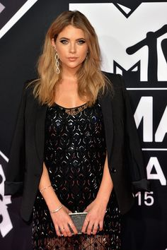 Pretty Little Liars Actress, Ashley Benson carrying the Freize Clutch in Gunmetal at  the MTV EMAs | Oroton
