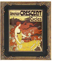 Art Nouveau Art Deco Art Print 8 x 10 - Redhead Beauty Queen on a Bicycle - Bike