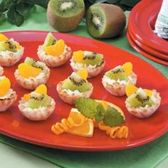 Cheesecake Phyllo Cups Recipe -Lorraine Chevalier of Merrimac, Massachusetts borrowed this recipe from a friend, whose husband is diabetic, and has been making the colorful cheesecake bites ever since. Topped with kiwifruit and mandarin oranges, they are just delicious.