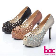 2980-完美無瑕-鑲空貼鑽魚口幸福高跟鞋-黑色 - 5 粉橘4.5 Peeps, Peep Toe, Shoes, Fashion, Moda, Zapatos, Shoes Outlet, Fashion Styles, Shoe