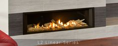 linear fireplace provides a widescreen display that is larger than the highlighted by a collection of unique trim options. Contemporary Gas Fireplace, Linear Fireplace, Wood Fireplace, Fireplace Design, Valor Fireplaces, Gas Fireplaces, Blue Jay Way, Decoration, Hearth