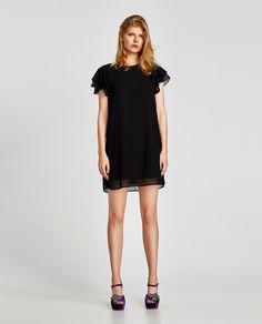 ZARA BLACK PLUMETIS EMBROIDERED DRESS | Abiti di pizzo nero