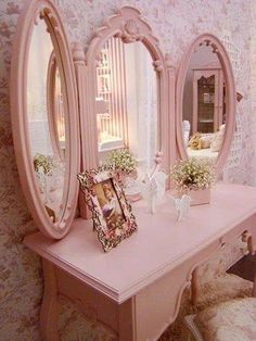 Pink Vanity, Make Your Own Tri Fold Mirrors By Adding Piano Hinges To 3  Similar Mirrors!