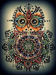 owl mandala tattoos - Google Search