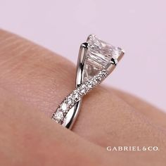 It's part statement piece, part shining masterpiece. Make the Leigh princess cut engagement ring your own. Princess Cut Diamond Engagement Ring by Gabriel & Co. Wedding rings- diamond ring - wedding jewelry and accessories - engagement rings - sapphire - diamond - rings - minimalist jewelry -engagement ideas - luxury engagement ring #diamond #dimondring #luxuryring #engagementring #engagementidea #jewelry #diamondjewelry #jewellery