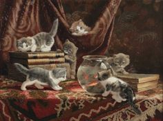 Cornelis Raaphorst (1875-1954) | Kittens with books and a fish bowl | 20th Century, Paintings | Christie's