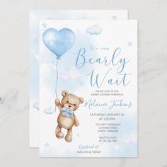 Bearly Wait Boy Baby Shower Invitation